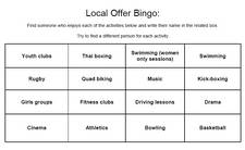 Local Offer Bingo Card