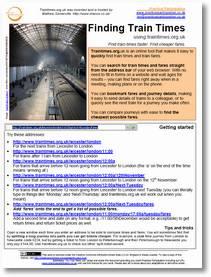 Train times guide