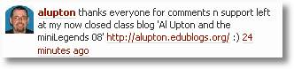 alupton Twitter: Thanks to everyone for comments n support left at now closed class blog.
