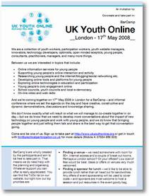 BarCamp UK Youth Online - 17th May 2008
